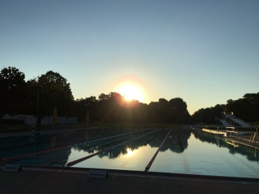Catching the sunrise at the pool before work