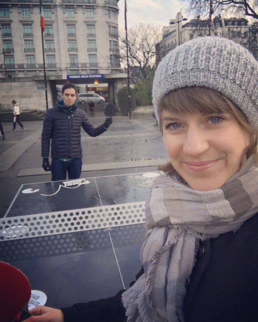 Ping-pong battle at Marble Arch
